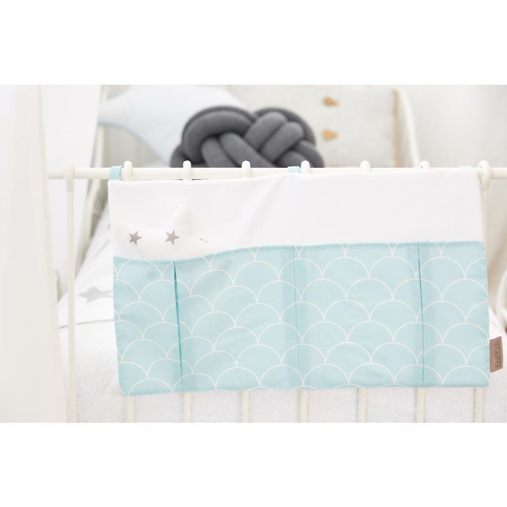 KraftKids Betttasche weiße Halbkreise auf Pastelmint
