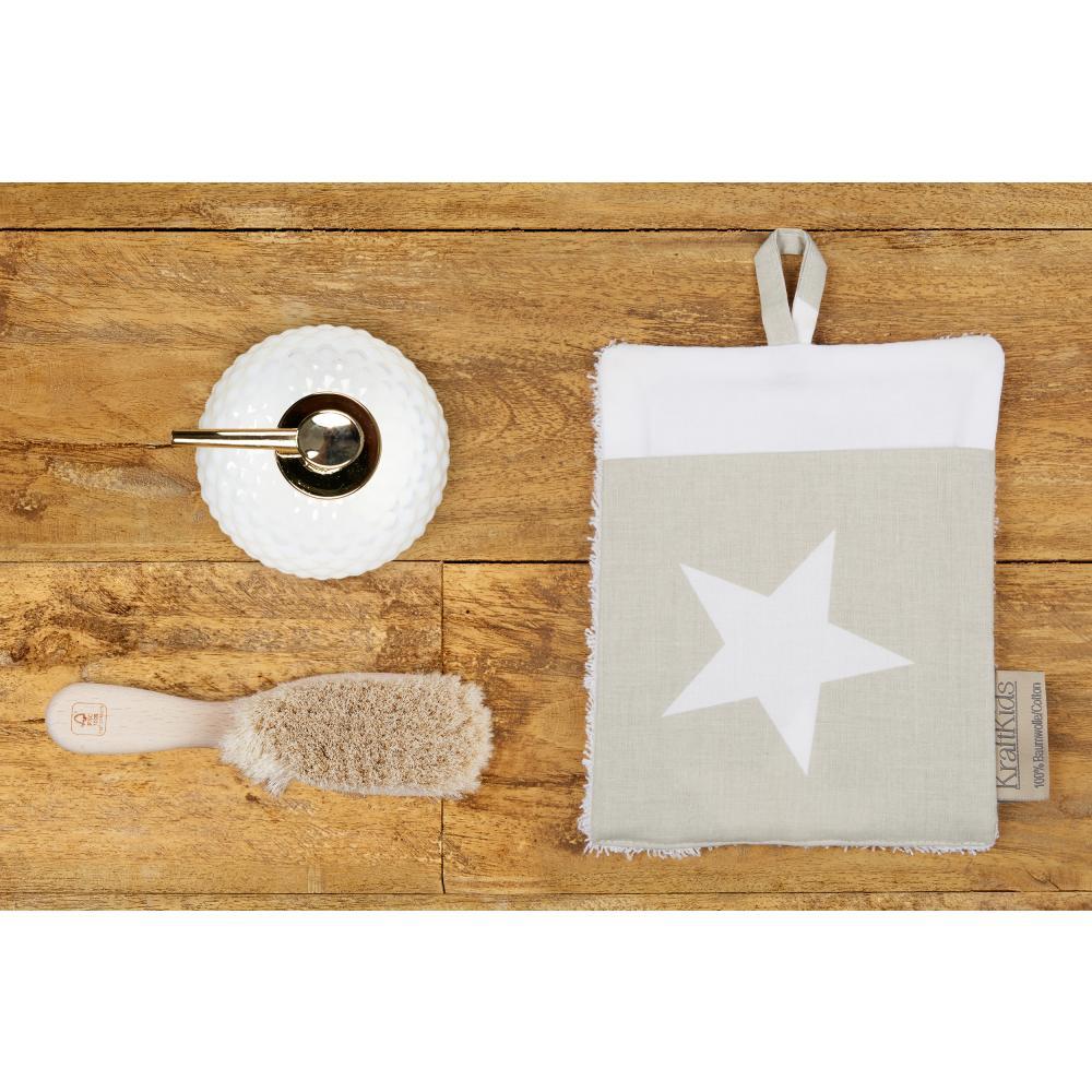 KraftKids Waschlappen große weiße Sterne auf Beige