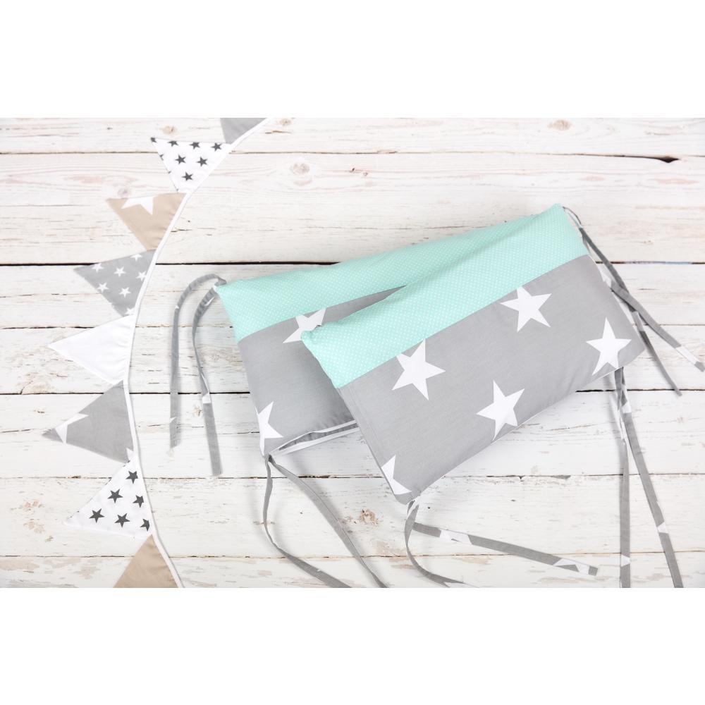 KraftKids Nestchen große weiße Sterne auf Grau und weiße Punkte auf Mint Nestchenlänge 60-70-60 cm für Bettgröße 140 x 70 cm