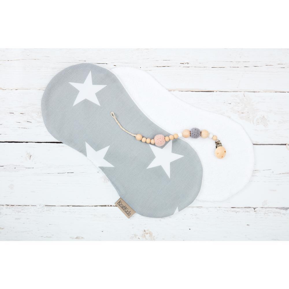 miniFifia Spucktuch große weiße Sterne auf Grau
