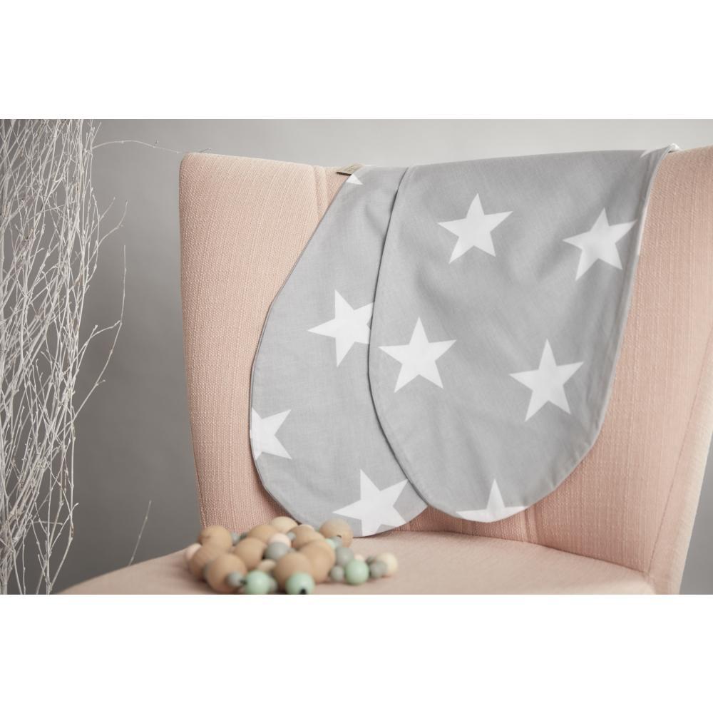 KraftKids Stillkissenbezug große weiße Sterne auf Grau