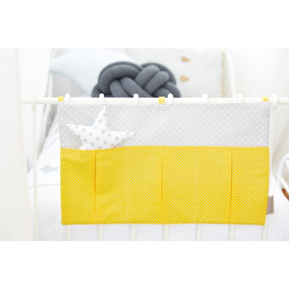 KraftKids Betttasche weiße Punkte auf Gelb und weiße Punkte auf Grau