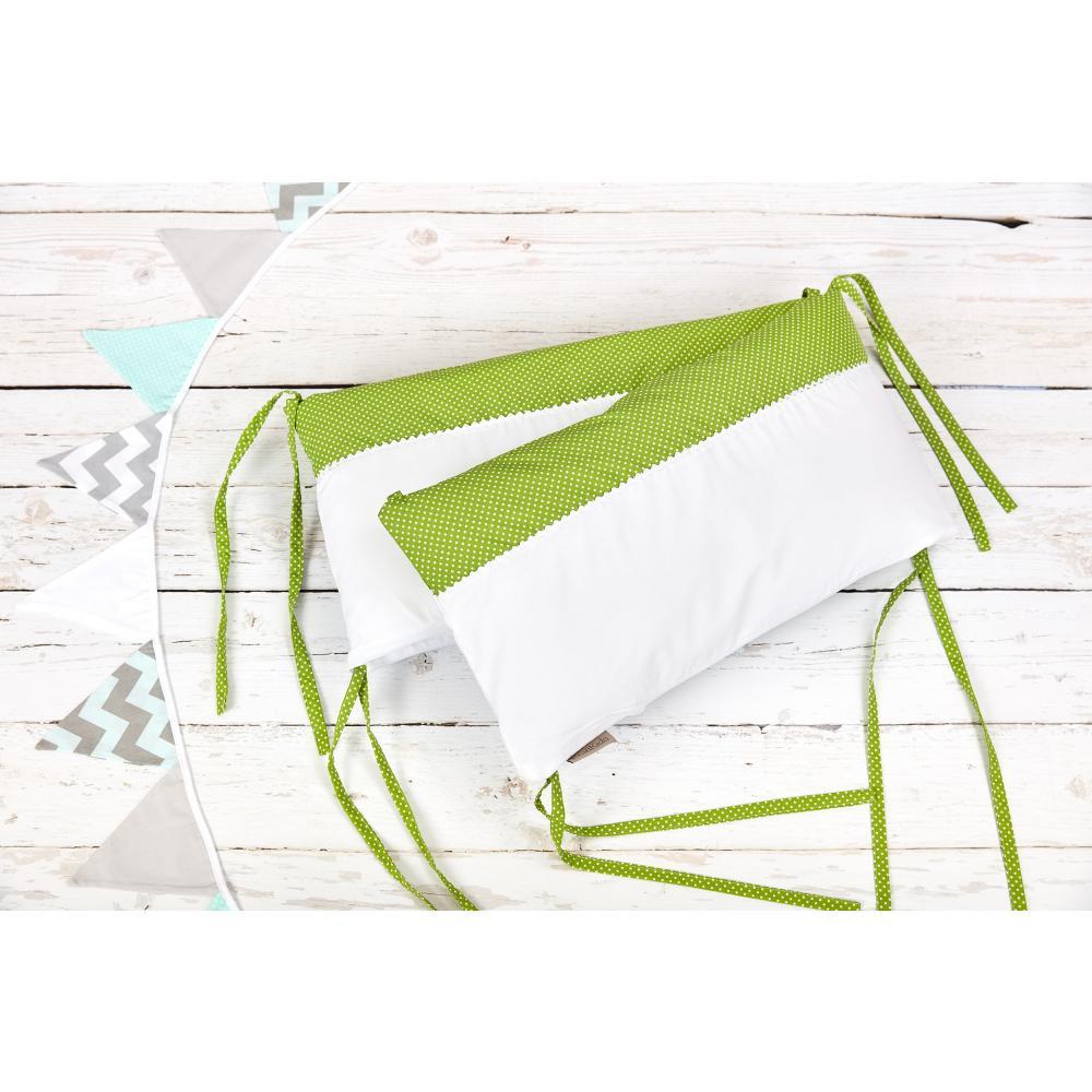 KraftKids Nestchen Uniweiss und weiße Punkte auf Grün Nestchenlänge 60-60-60 cm für Bettgröße 120 x 60 cm