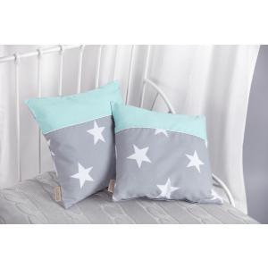 KraftKids Kissenbezug große weiße Sterne auf Grau und weiße Punkte auf Mint