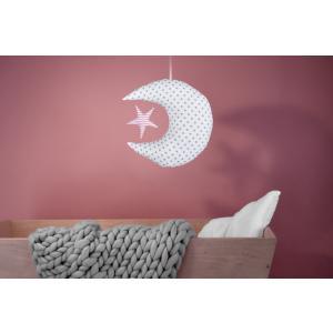 KraftKids Dekoration Mond und Stern graue Punkte auf Weiss und Streifen rosa