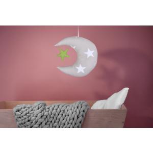 KraftKids Dekoration Mond und Stern große weiße Sterne auf Beige und weiße Punkte auf Grün