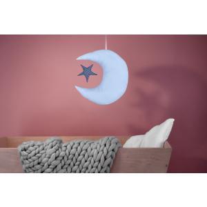 KraftKids Dekoration Mond und Stern weiße Punkte auf Hellblau und weiße Punkte auf Dunkelblau