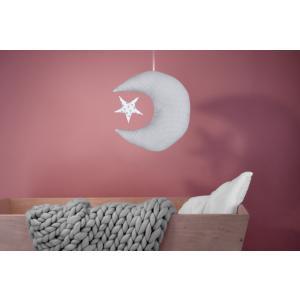 KraftKids Dekoration Mond und Stern weiße Punkte auf Grau und graue Punkte auf Weiss