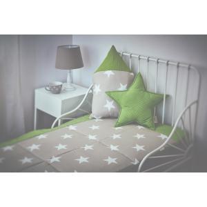 KraftKids Tagesdecke große weiße Sterne auf Beige und weiße Punkte auf Grün