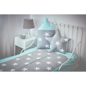 KraftKids Tagesdecke große weiße Sterne auf Grau und weiße Punkte auf Mint