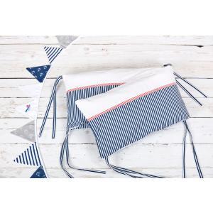 KraftKids Nestchen Uniweiss und Streifen dunkelblau Nestchenlänge 60-60-60 cm für Bettgröße 120 x 60 cm