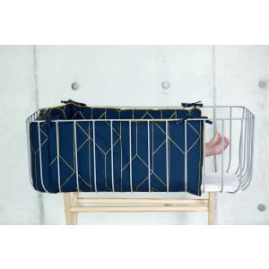 KraftKids Nestchen goldene Linien auf Dunkelblau Nestchenlänge 60-60-60 cm für Bettgröße 120 x 60 cm