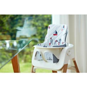KraftKids Sitzverkleinerer Strandhäuschen und Streifen dunkelblau Hochstuhl Hochstuhleinlage