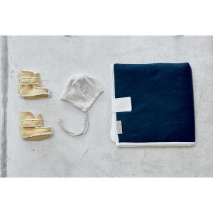 KraftKids Reisewickelunterlage Musselin dunkelblau 3 Lagen wasserundurchlässig weich Frotte 100% Baumwolle