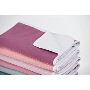 KraftKids Wickelunterlage Musselin purpur 3 Lagen wasserundurchlässig weich Frotte 100% Baumwolle