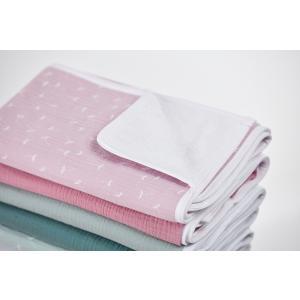 KraftKids Wickelunterlage Musselin rosa Pusteblumen 3 Lagen wasserundurchlässig weich Frotte 100% Baumwolle