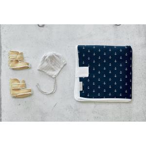 KraftKids Reisewickelunterlage Musselin dunkelblau Anker 3 Lagen wasserundurchlässig weich Frotte 100% Baumwolle
