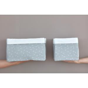 KraftKids Körbchen Musselin grau Pusteblumen 20 x 20 x 20 cm