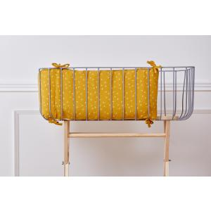 KraftKids Nestchen Musselin gelb Pusteblumen Nestchenlänge 60-60-60 cm für Bettgröße 120 x 60 cm