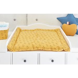 KraftKids Wickelauflage Musselin gelb Lamma breit 60 x tief 70 cm passend für Waschmaschinen-Aufsatz von KraftKids