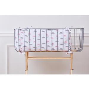 KraftKids Nestchen Musselin weiß Wolken Nestchenlänge 60-70-60 cm für Bettgröße 140 x 70 cm