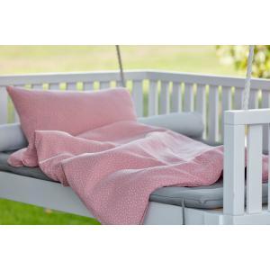 KraftKids Bettwäscheset Musselin rosa Punkte 140 x 200 cm, Kissen 80 x 80 cm