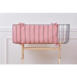 KraftKids Nestchen Musselin rosa Punkte Nestchenlänge 60-70-60 cm für Bettgröße 140 x 70 cm