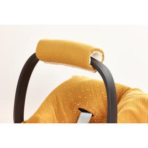 KraftKids Armschoner Babyschale Musselin goldene Punkte auf Gelb Babyschale Armpolster