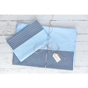 KraftKids Bettwäscheset weiße Punkte auf Hellblau und Streifen dunkelblau 140 x 200 cm, Kissen 80 x 80 cm