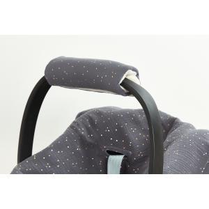 KraftKids Armschoner Babyschale Musselin goldene Punkte auf Grau Babyschale Armpolster