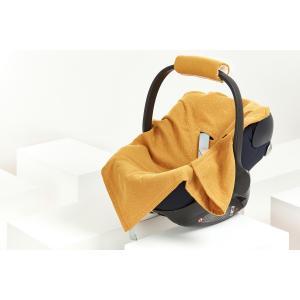 KraftKids Einschlagdecke für Babyschale Sommer Musselin goldene Punkte auf Gelb
