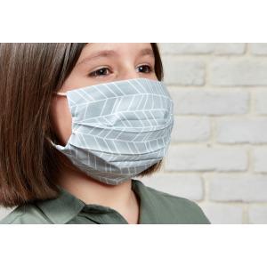 KraftKids Gesichtsmaske weiße Feder Muster auf Grau