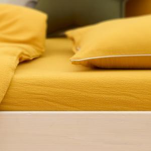 KraftKids Spannbettlaken Doppelkrepp Gelb Mustard passend für Matratze 120 x 60 cm