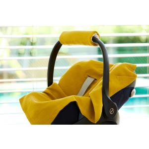 KraftKids Babydecke für Babyschale Sommer Doppelkrepp Gelb Mustard