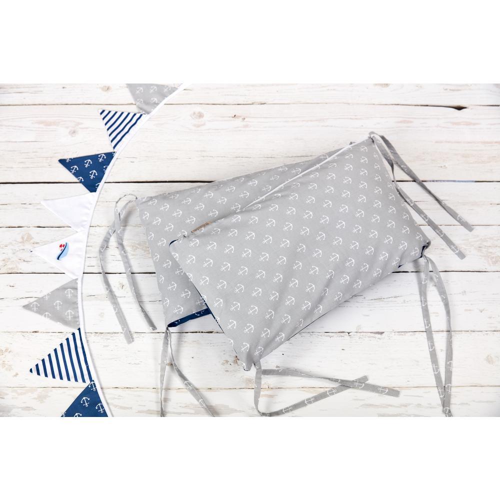 KraftKids Nestchen weiße Anker auf Dunkelblau und weiße Anker auf Grau Nestchenlänge 60-60-60 cm für Bettgröße 120 x 60 cm