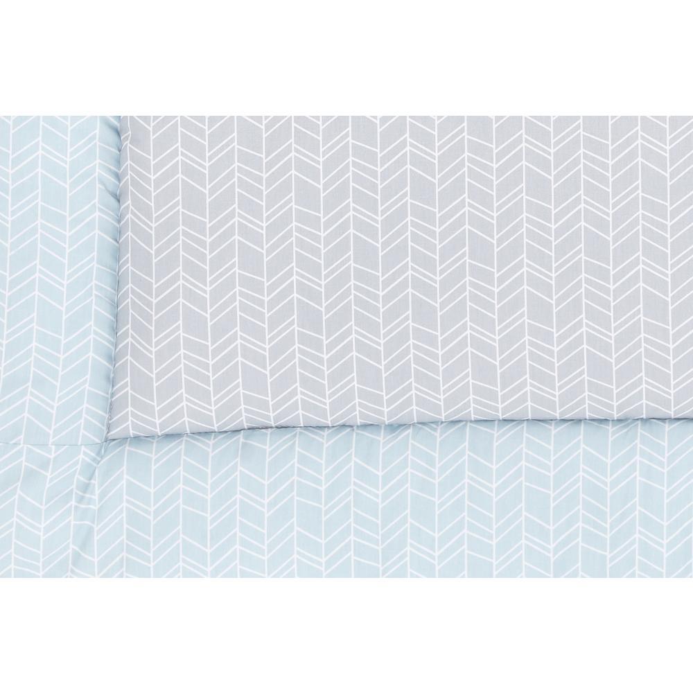 KraftKids Krabbeldecke weiße Feder Muster auf Blau