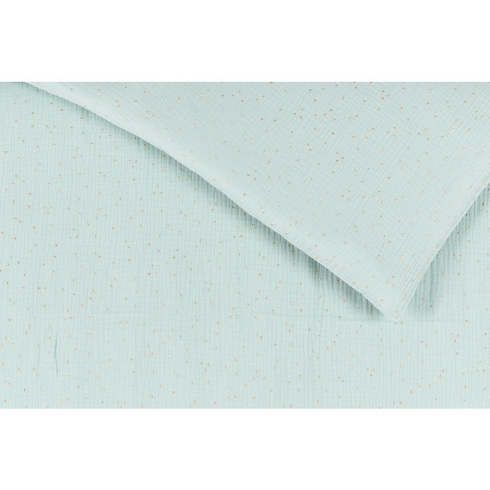 KraftKids Bettwäscheset Musselin goldene Punkte auf Grün 140 x 200 cm, Kissen 80 x 80 cm