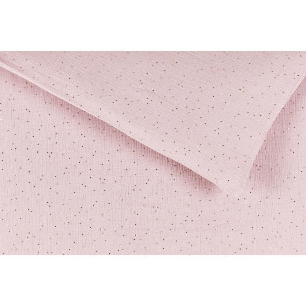 KraftKids Bettwäscheset Musselin goldene Punkte auf Rosa 100 x 135 cm, Kissen 40 x 60 cm