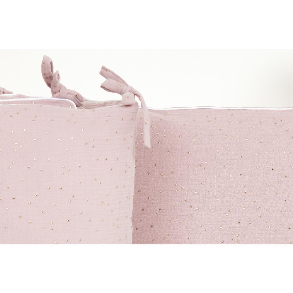 KraftKids Nestchen Musselin goldene Punkte auf Rosa Nestchenlänge 60-70-60 cm für Bettgröße 140 x 70 cm