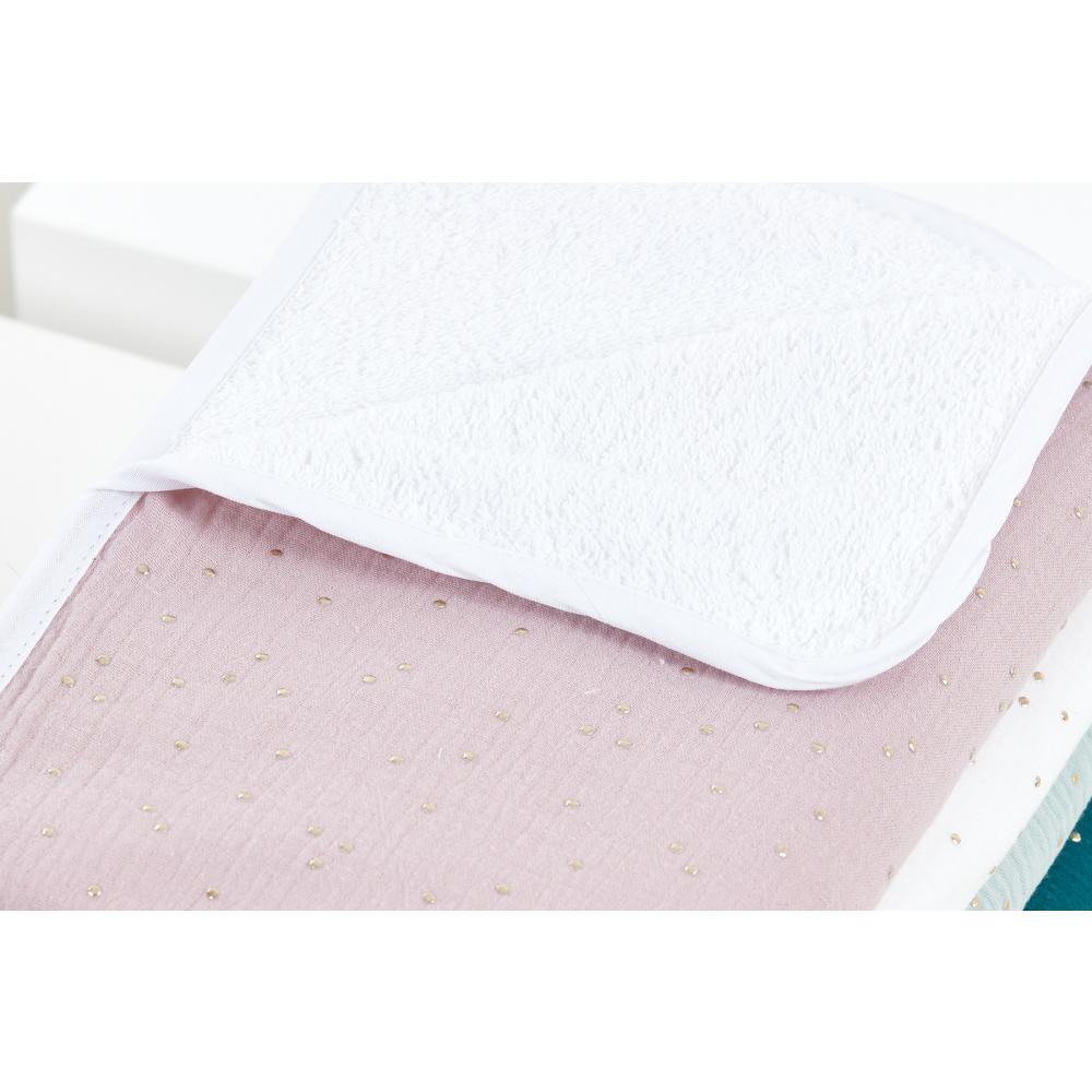 KraftKids Wickelunterlage Musselin goldene Punkte auf Rosa 3 Lagen wasserundurchlässig weich Frotte 100% Baumwolle