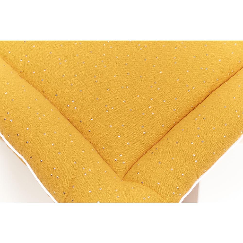 KraftKids Wickelauflage Musselin goldene Punkte auf Gelb breit 75 x tief 70 cm