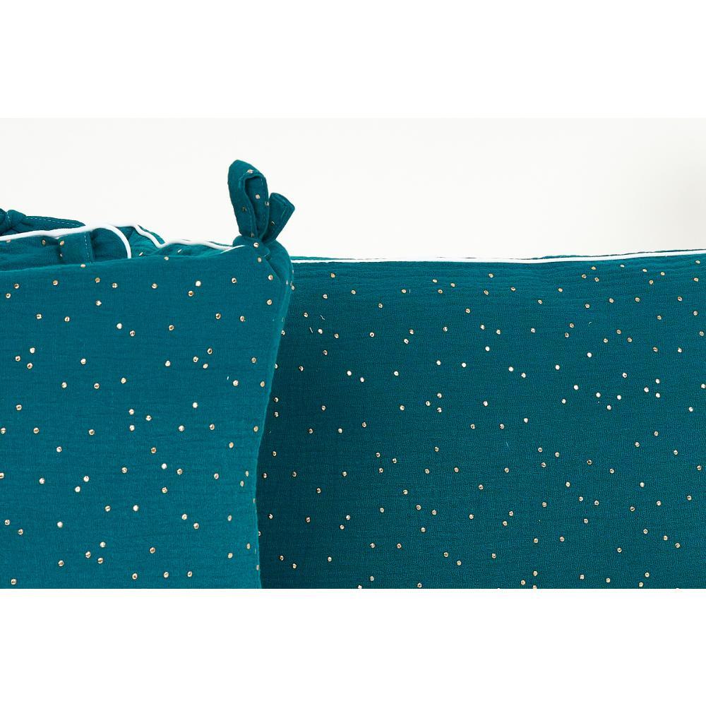 KraftKids Nestchen Musselin goldene Punkte auf Petrol Nestchenlänge 60-70-60 cm für Bettgröße 140 x 70 cm