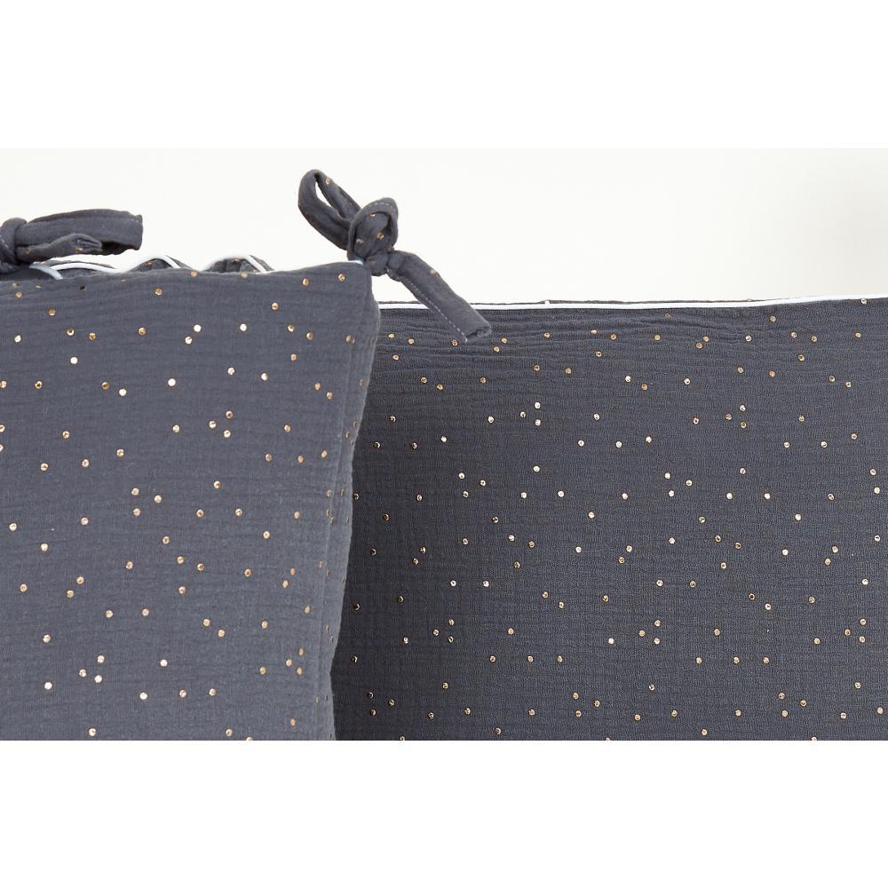 KraftKids Nestchen Musselin goldene Punkte auf Grau Nestchenlänge 60-60-60 cm für Bettgröße 120 x 60 cm