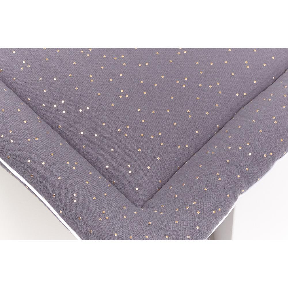KraftKids Wickelauflage Musselin goldene Punkte auf Grau breit 60 x tief 70 cm passend für Waschmaschinen-Aufsatz von KraftKids