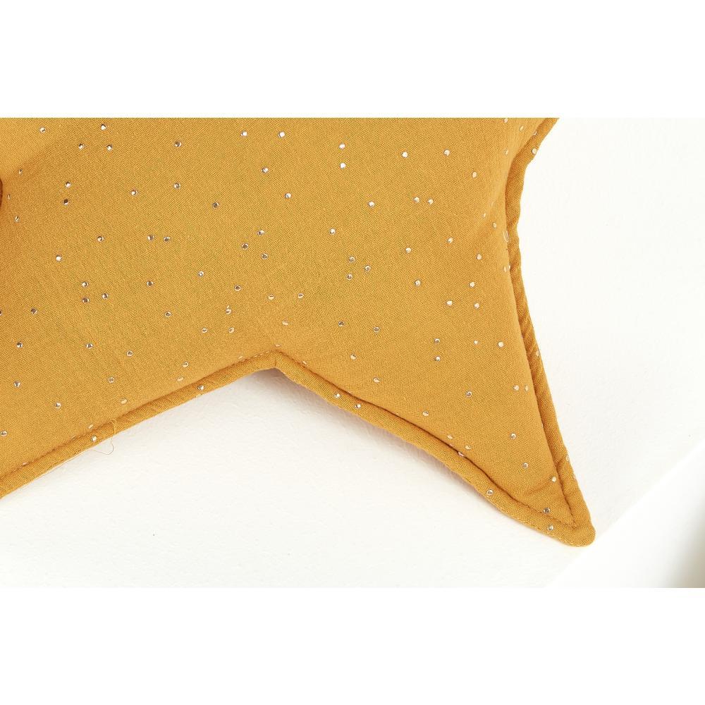 KraftKids Sternkissen Musselin goldene Punkte auf Gelb