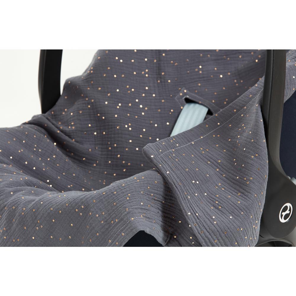KraftKids Babydecke für Babyschale Sommer Musselin goldene Punkte auf Grau