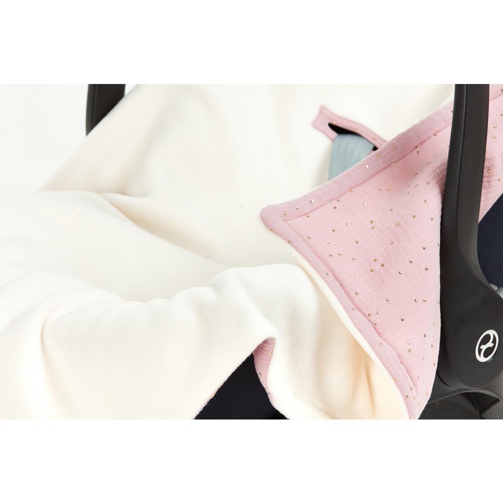 KraftKids Decke für Babyschale Winter Musselin goldene Punkte auf Rosa