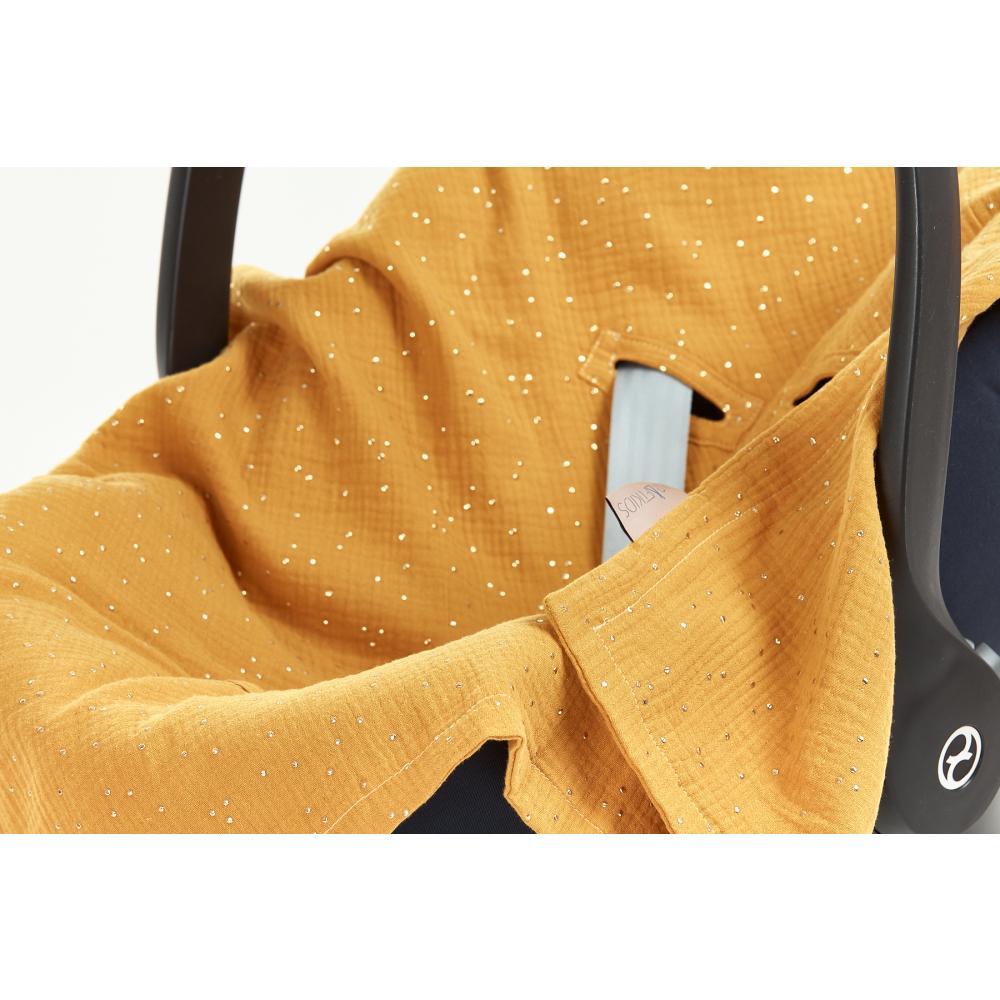KraftKids Babydecke für Babyschale Sommer Musselin goldene Punkte auf Gelb