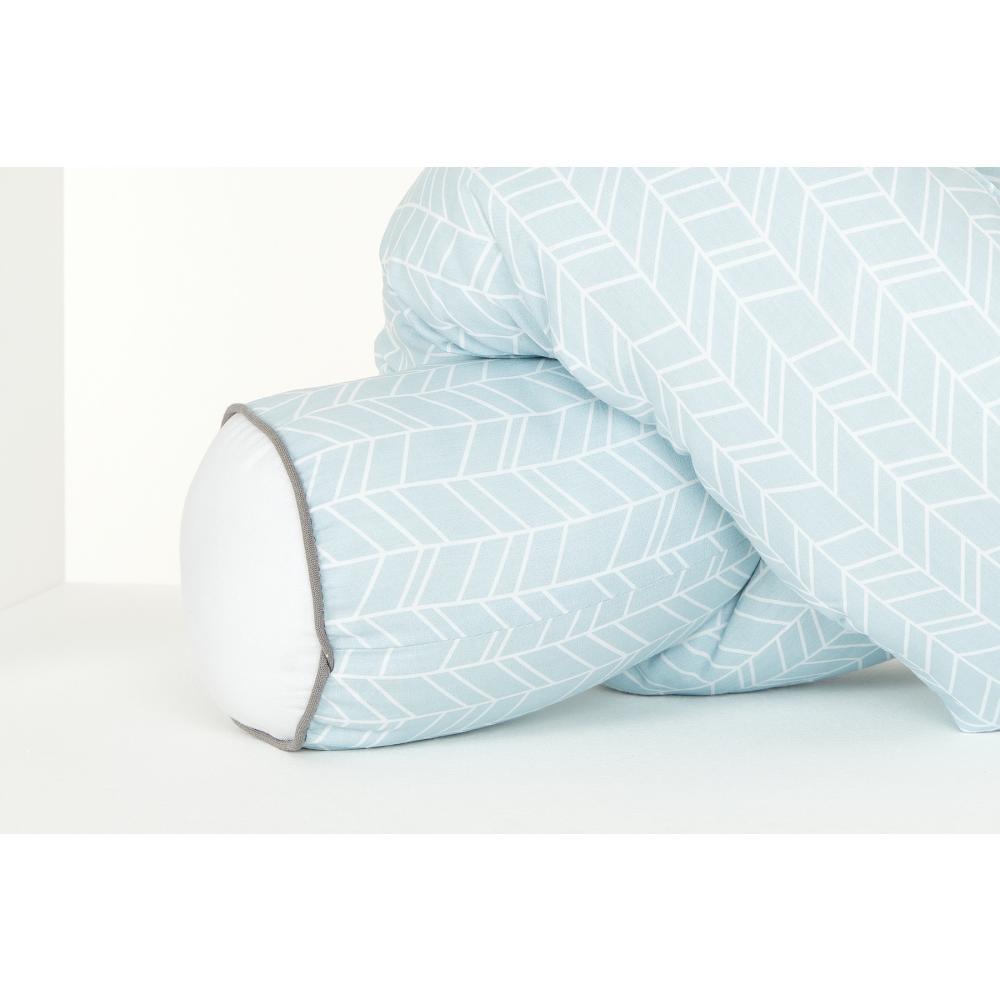 KraftKids Bettrolle weiße Feder Muster auf Blau Stärke: 10 cm, Rollenlänge 100 cm