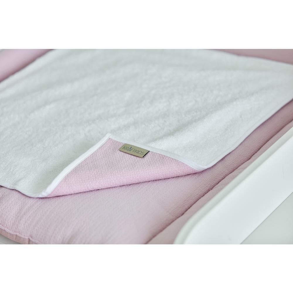 KraftKids Wickelunterlage Doppelkrepp Rosa 3 Lagen wasserundurchlässig weich Frotte 100% Baumwolle
